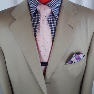 Ermenegildo Zegna Suit Tan 44L 3Btn 100% Cotton